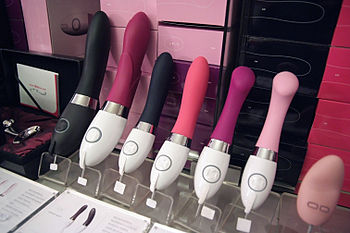 Designer vibrators in an erotic shop for women...